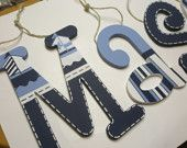 William - hand painted - custom wooden wall letters for nursery - boats. $12.00, via Etsy.