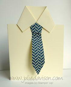 VIDEO Tutorial for Men's Shirt  Tie Card #stampinup #fathersday #masculine www.juliedavison.com