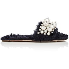 Miu Miu Women's Imitation-Pearl-Embellished Mohair Eco-Shearling Slide... ($950) ❤ liked on Polyvore featuring shoes, sandals, open toe sandals, rubber sole shoes, navy blue sandals, embellished sandals and navy shoes
