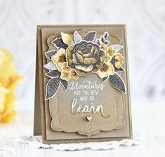 PTI Stitching Garden + Mix & Mat: Brackets card by Laurie Schmidlin Snowflake Images, Flower Cards, Craft Items, Pattern Paper, I Card, Cardmaking, Paper Crafts, Ink, Handmade Cards
