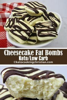 Cheesecake Fat Bombs - Keto and Low Carb If you like cheesecake and are looking for a quick high fat snack to satisfy your sweet tooth, you will love these! Just a few simple steps and you will have wonderful little bites of cheesecake goodness! Keto Desserts, Keto Snacks, Dessert Recipes, Snack Recipes, Dinner Recipes, Protein Desserts, Protein Recipes, Protein Foods, Protein Bars