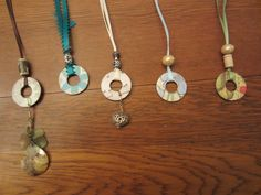 Grandson made these beautiful washer necklaces for his aunts, mom and grandmoms.