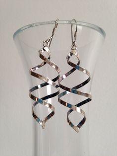 Silver Swirl Dangle Earrings by juliesringsandthings on Etsy