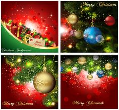 Backgrounds With Christmas Ornaments Vector Borders Clippers