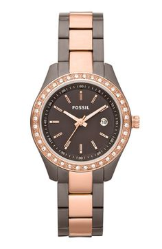 Fossil 'Mini Stella' Crystal Two Tone Bracelet Watch available at #Nordstrom