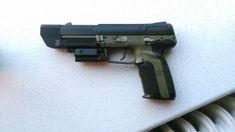 FN Five Seven with Compensator and laser target Weapons Guns, Guns And Ammo, Fn Five Seven, Battle Rifle, Custom Guns, Military Gear, Cool Guns, Modern Warfare, Tactical Gear