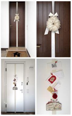 #christmas #decor #inspiration: ribbon wreath outside, festive cards hanger inside  (Details of us)
