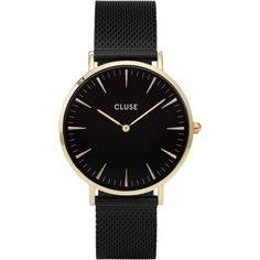 Cluse La Boheme Mesh Gold Black/Black Watch ($135) ❤ liked on Polyvore featuring jewelry, watches, women's accessories, water resistant watches, black and gold jewelry, cluse watches, bohemian jewelry and boho jewelry
