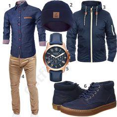 Dunkelblaues Herrenoutfit mit Hemd mit Jeansoptik, warmer Strickmütze, Blend Übergangsjacke, beiger Merish Biker-Jeans, Fossil Armbanduhr und halbhohen Timberland Schuhen.