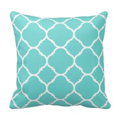 Trendy Turquoise and White Quatrefoil Throw Pillows