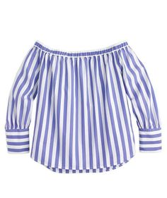 Collection Thomas Mason For J.Crew Off-The-Shoulder Striped Top (Blue White, Size J Crew Tops, Plus Size Fashion For Women, Off Shoulder Tops, Cotton Blouses, Fashion Outfits, Womens Fashion, Cool Shirts, Spring Summer Fashion, Clothes