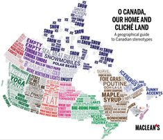 Map created by Maclean's Magazine to celebrate Canada Day. It contains stereotypes of different Canadian regions and cities. Different font indicates different stereotypes. More stereotype maps >> Canadian Things, I Am Canadian, Canadian History, Canadian Humour, Canadian Culture, European History, Funny Canadian Memes, Canadian Facts, Canada Day