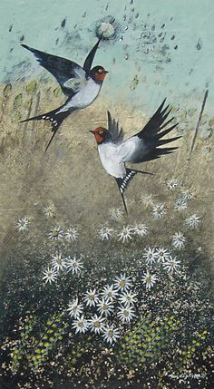 Daisy Swallows - Ingebjorg Smith Sweet Magic, Graphics Fairy, Bird Art, Natural World, Art Google, Flower Art, Wild Flowers, Daisy, Old Things