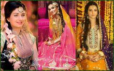 faha akmal, faryal makhdoom n sara bharwana (left2 right) at dir mehindi functions respectively. Mehndi Dress, Celebrity Weddings, Indian Fashion, Party Wear, Pakistani, Divas, Desi, Wedding Photography, Celebs