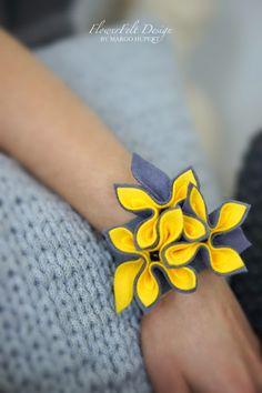 FlowerFelt Design: SunFlowers bransoleta