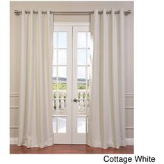 Exclusive Fabrics Bellino Grommet Top 84-Inch Blackout Curtain Panel ($51) ❤ liked on Polyvore featuring home, home decor, window treatments, curtains, white, white window curtains, white curtains, white patterned curtains, white blackout curtains and blackout window panels