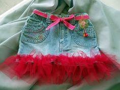 Sweet denim jean  burgundy Tutu skirt 12 by shoptillyoudropnow, $25.00  Oh so cute