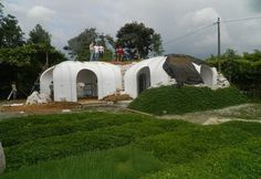 Magic Green Homes fabricates small homes using prefab vaulted panels and covers them with soil.