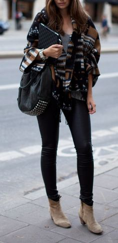 PINTEREST STYLIST!!  #street #style / poncho + ankle boots I adore this entire outfit, top to bottom. This is very close to the style I am trying to create for myself  Edgy but slightly boho.