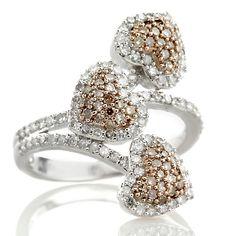 "14K White Gold .76ct Diamond Triple ""Heart"" Ring"