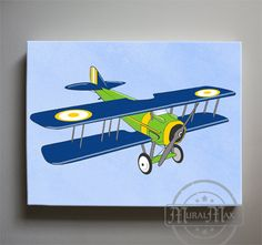 Airplane Canvas Vintage Plane Decor Bi Transportation Theme Boy Room Nursery For Boys Wall Art Airplanes