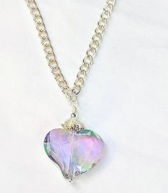 Heart Pendant Aurora Borealis, Long Crystal Glass Bead Pendant Necklace, Silver  Necklace, Romantic Jewelry Gift For Her, Valentine Gift