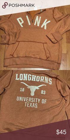 Victoria Secret pink zip up pullover sweatshirt College Shirts, College Campus, Texas Longhorns Logo, University Of Texas, Pink Zip Ups, Austin Texas, Fashion Design, Fashion Tips, Fashion Trends