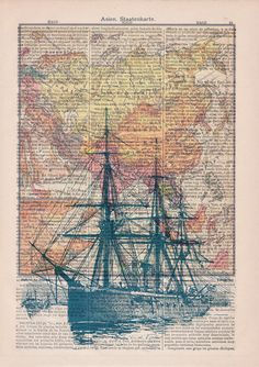 Old ship map Print on Vintage Encyclopedic Dictionary by PRRINT