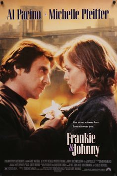 An ORIGINAL rolled movie poster for the 1991 film Frankie & Johnny starring Al Pacino, Michelle Pfeiffer, Hector Elizondo, Nathan Lane & Kate Nelligan. Written for the screen by Terrance McNally based on his own play and directed by Garry Marshall. Movies And Series, Movies And Tv Shows, Al Pacino Michelle Pfeiffer, Film Movie, Johnny Movie, Garry Marshall, Little Dorrit, Frankie And Johnny, Films Cinema
