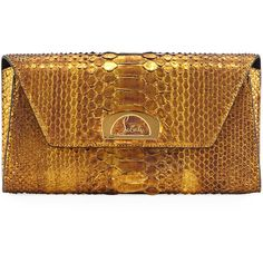 Christian Louboutin Riviera Metallic Python Clutch Bag (39.908.055 VND) ❤ liked on Polyvore featuring bags, handbags, clutches, louboutin, gold, gold clutches, chain strap purse, gold handbags, python handbags and christian louboutin handbags