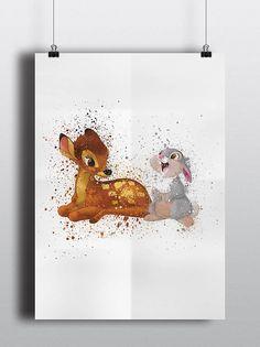 Bambi Poster Print - Bambi & Thumper | A2 Size-Resizable | Printable | Digital Download | Disney | Nursery Art | Nursery Decor | Watercolour