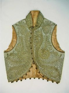 Antique Ottoman Turkish, hand embroidered, metallic silver thread vest.