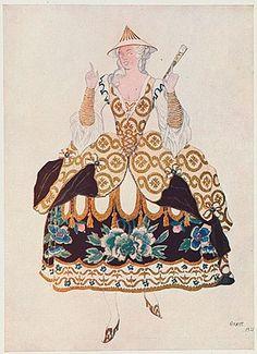 "Costume design (1921), by Léon Bakst [Левъ Самуиловичъ Бакстъ] (1866-1924), for a Chinese woman, in ""Sleeping Beauty"" [Спящая Красавица] (1889), by Pyotr Tchaikovsky [Петръ Ильичъ Чайковскiй] (1840-1893)."