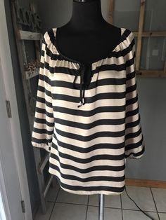 White House Black Market Beige Black Striped Satin Tunic Dress Blouse Top M Euc #WhiteHouseBlackMarket #Tunic #DressCareer