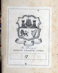 Queen's College, Ex Libris, Bookbinding, Cork, Vintage World Maps, Notes, Collection, Report Cards, Notebook