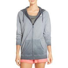 Nike Ombre Cotton Hoodie ($70) ❤ liked on Polyvore featuring tops, hoodies, nike, long sleeve tops, hooded zip up sweatshirt, long sleeve hoodies and zip front hoodies
