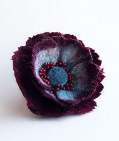 "Felted Flower Brooch, Hair Clip, Wool Felt Jewelry,Dark Red & Turquoise Flower, ""A little bit different poppy"""