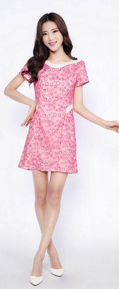Pink Organza Dress with Pearl Collar YRB0028 Korean Dress