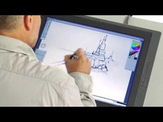 Marcel de Jong, Solutions Engineer at Autodesk, demonstrates how to sketch architectural structures and environments in Sketchbook Pro using a Wacom Cintiq Architecture Drawings, Concept Architecture, Drafting Drawing, Galaxy Book, Model Sketch, Sketchbook Pro, Drawing Tablet, Digital Painting Tutorials, Environmental Design