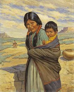 Hopi Mother and Child, ca. 1937-1943 Carl Moon, oil on canvas, 30 x 23 7/8 in. (76.2 x 60.7 cm), Smithsonian American Art Museum, Gift of Mrs. Florence O.R. Lang, 1985.66.383,325
