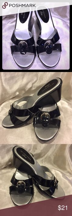 Anne Klein I Flex Black and silver wedge sandal 8 Anne Klein IFlex Black and silver wedge sandal size 8 EUC Anne Klein Shoes Wedges