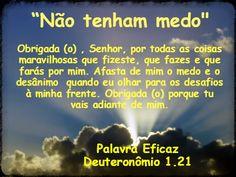 Promessas para hoje: Não Tenha Medo- Deuteronômio 1.21