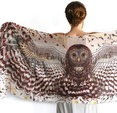 Owl art cotton scarf day version Hand painted Owl Wings by Shovava