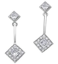 14Kt White Gold Diamond Earrings  0.50ct, CDC* 0.40ct White Gold Diamond Earrings, White Gold Diamonds