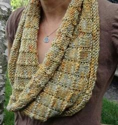 """""""Tiles"""" is a relaxed cowl knit on large needles to create a soft, squishy fabric. It features an easy pattern stitch, and is easily adaptable to be made larger or smaller. Loom Knitting, Knitting Stitches, Hand Knitting, Knitted Shawls, Crochet Scarves, Knitting Patterns, Crochet Patterns, Knitting Ideas, Knitting Accessories"""