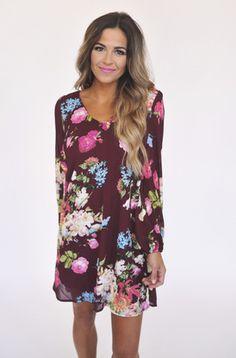 Burgundy Floral Dress - Dottie Couture Boutique