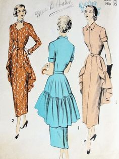 40s DRAMATIC Evening Party Dress Pattern by SoVintageOnEtsy