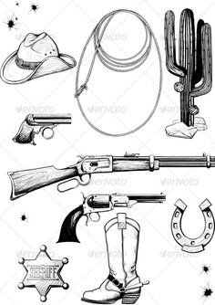 Collection of cowboy and Wild West Clip Art collection de cow-boy et Wild West Grand Clip Art Graphique Medical Illustration, Graphic Illustration, Wild West, Cowboy Draw, Cowboy Hat Drawing, Western Tattoos, Cowboy Tattoos, Rope Drawing, Western Signs