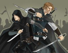 Riyria by Sarctic Yes, more Royce and Hadrian love. Because Royce and Hadrian. Fantasy Inspiration, Story Inspiration, Character Inspiration, Fantasy Books, Fantasy Artwork, Book Characters, Fantasy Characters, Fantasy Figures, Character Creation