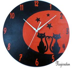 HORLOGE DUO DE CHAT AU CLAIR DE LUNE - Boutique www.magicreation.fr